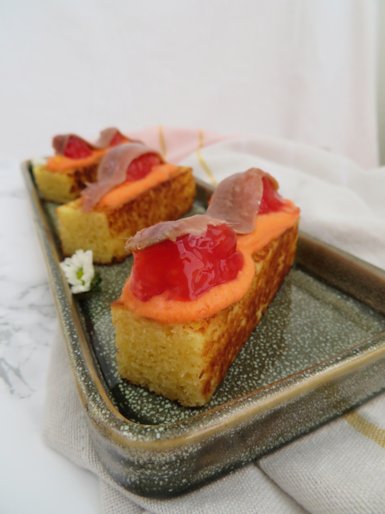 Grilled pound cake toast with Anchovy and Tomato