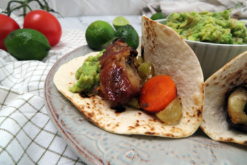 slow cooker ribs tacos with guacamole and roasted vegetables