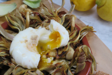 Artichoke with mushrooms and poached egg