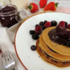 oatmeal pancakes served with fresh fruit - easy delicious and healthy breakfast o brunch idea