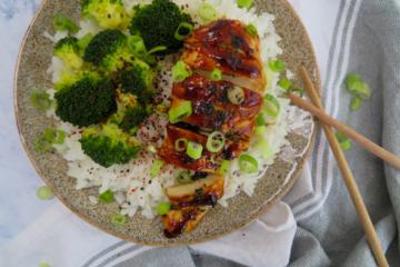 chicken teriyaki with homemade sauce steamed rice and broccoli