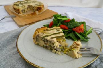 Slow cooker asparagus and mushroom quiche_pastel de setas y esparragos olla lenta