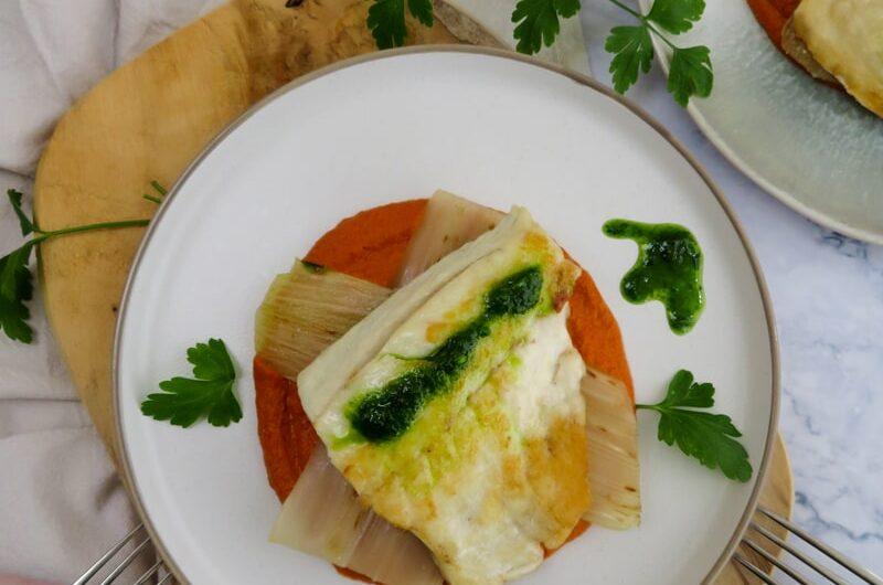 Pan-fried sea bass with vizcaína sauce