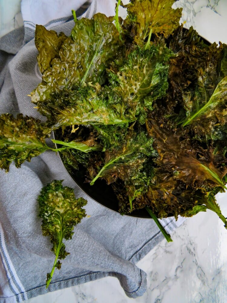 easy kale chips in a bowl-summer snack