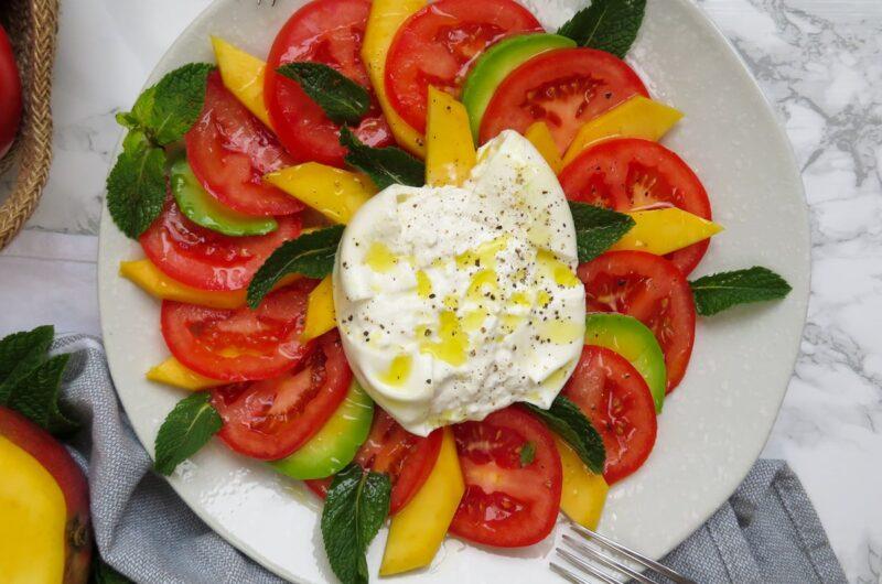 Tomato, mango and burrata salad
