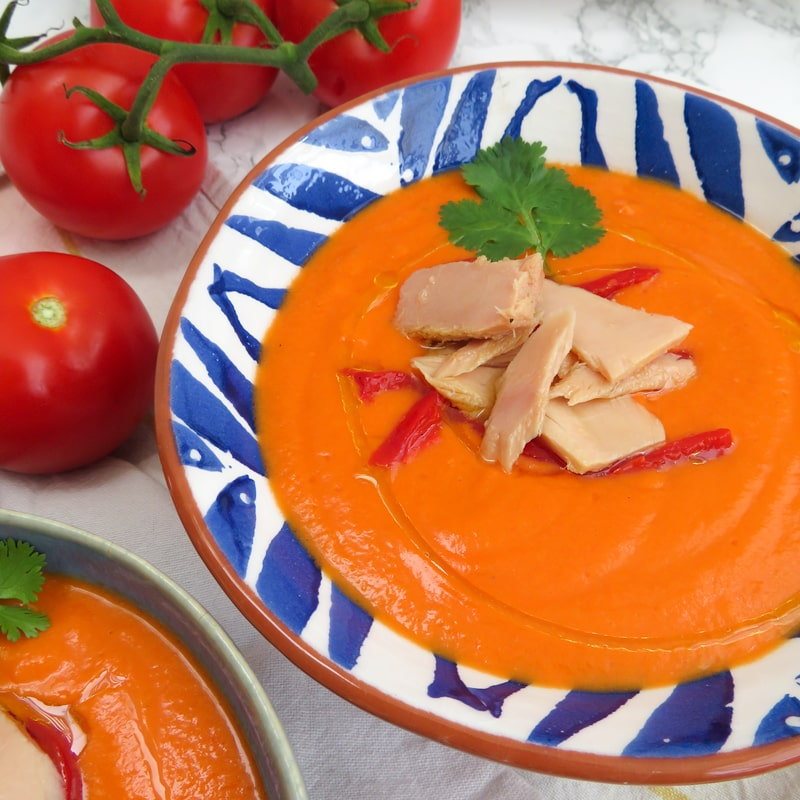 Salmorejo with piquillo peppers