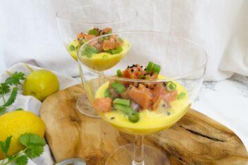 salmon tartare with mango and yogurt